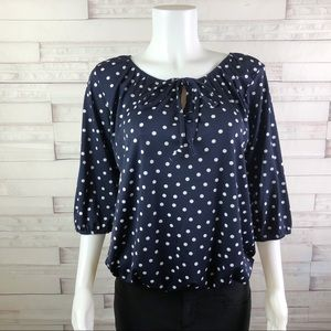 New! Star Vixen Peasant Top Navy Blue Size M